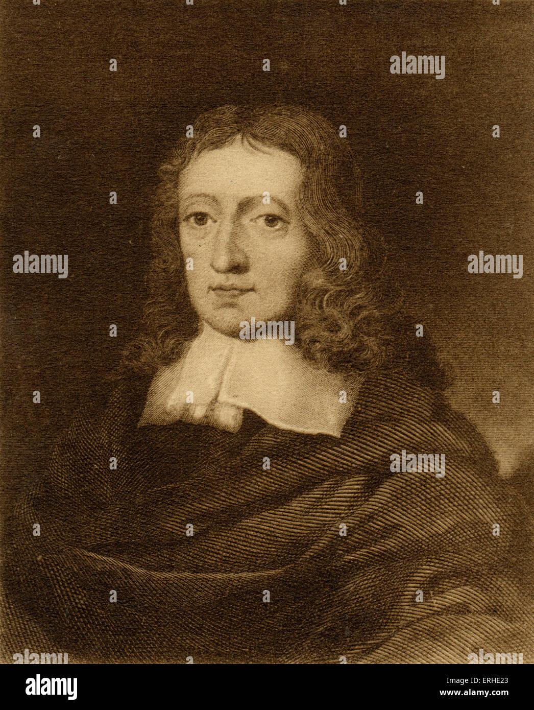 John Milton - portrait of English poet 9th December 1608 - 8th November 1764 - Stock Image