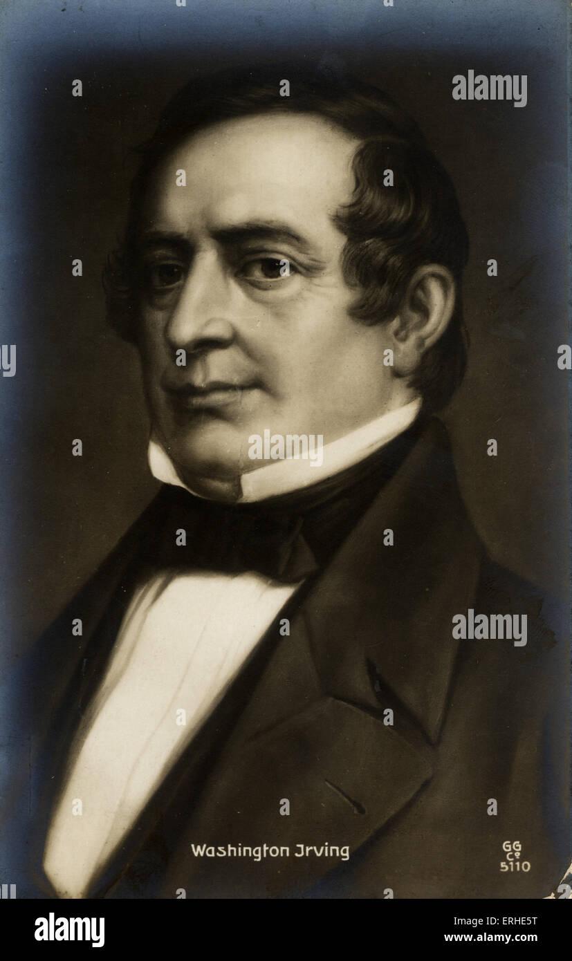 Washington Irving, portrait, American writer. 3 April 1783- 28 November 1859 - Stock Image