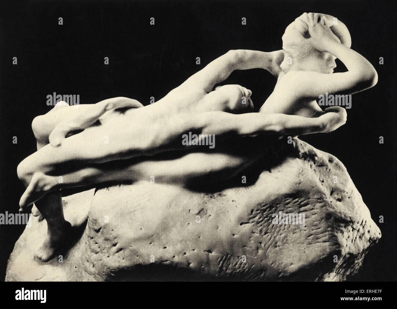 Auguste Rodin - Fugitive Love (Fugit Amor) c. 1881-87 Bronze sculpture. Musee Rodin, Paris. French sculptor, 12 - Stock Image