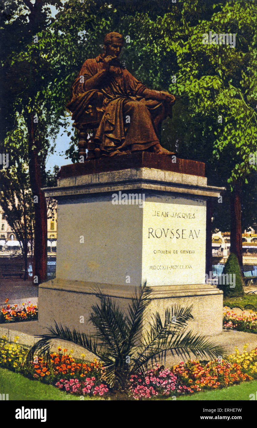 Jean-Jacques Rousseau, statue, Geneva. Swiss-French philosopher, writer, and composer 28 June 1712  - 2 July 1778 - Stock Image
