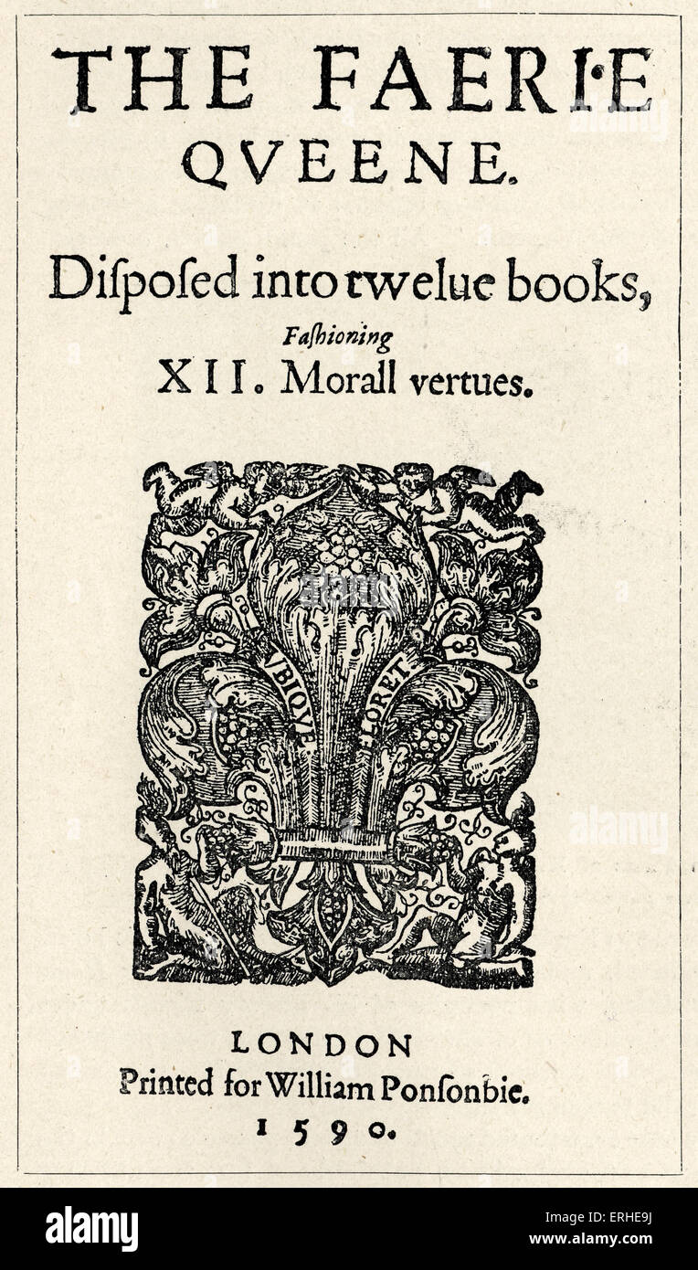 Title page, 1590. Put to music by Purcell. English poet 1552-16 January  1599. The Fairy