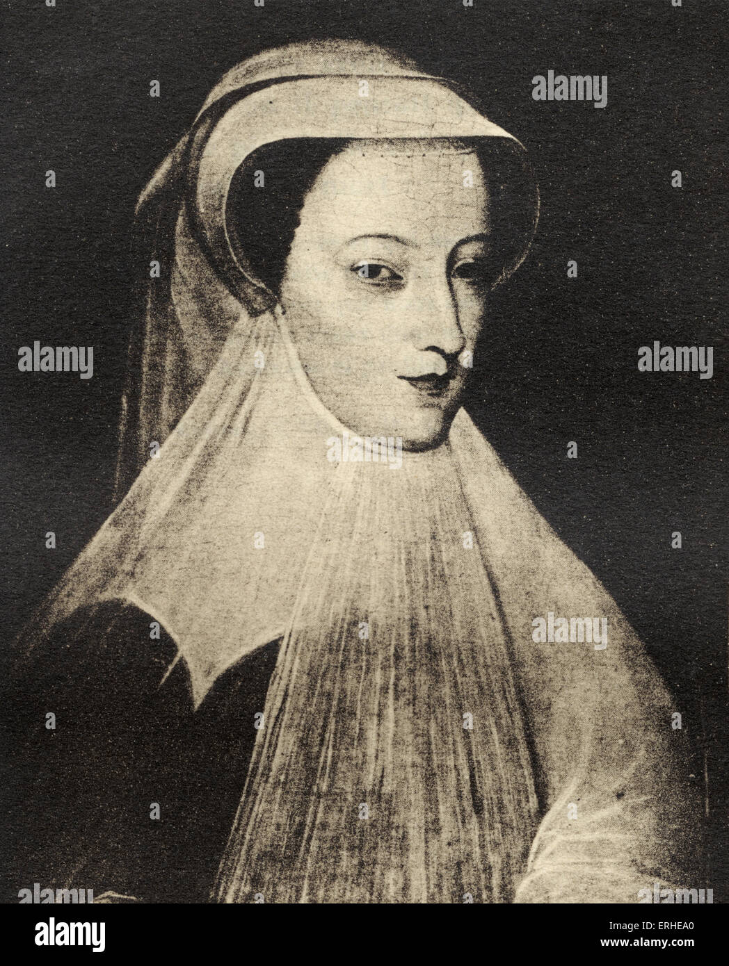 Mary Stewart  Queen of Scots. Portrait engraving. Writer of French poetry 1542 -1587.  Queen of France for one year, - Stock Image