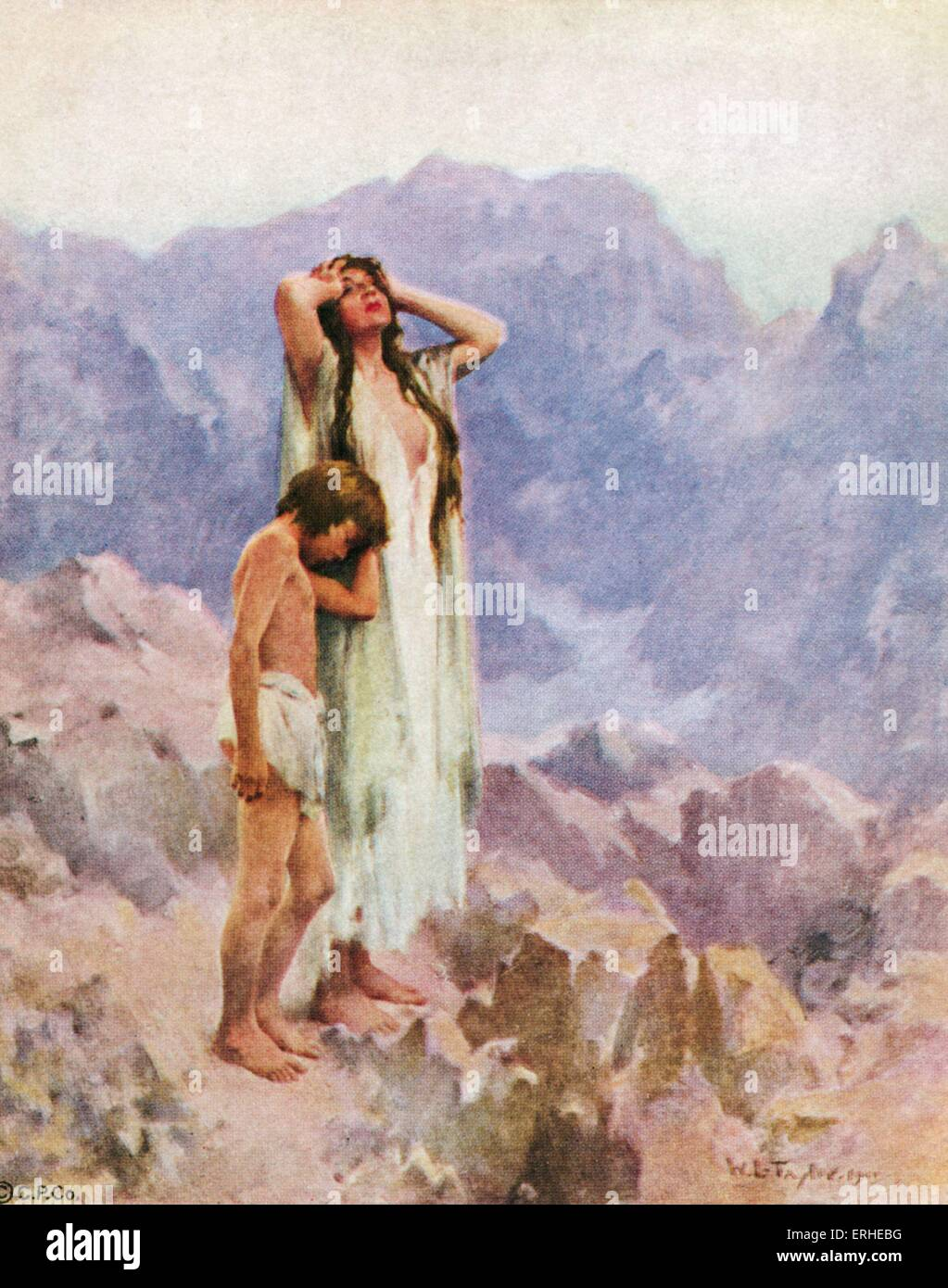 Hagar and Ishmael in the wilderness, cast out by Abraham and Sarah.  Illustration of Sarah's handmaid Hagar with her son Ishmael, son of  Abraham, ...