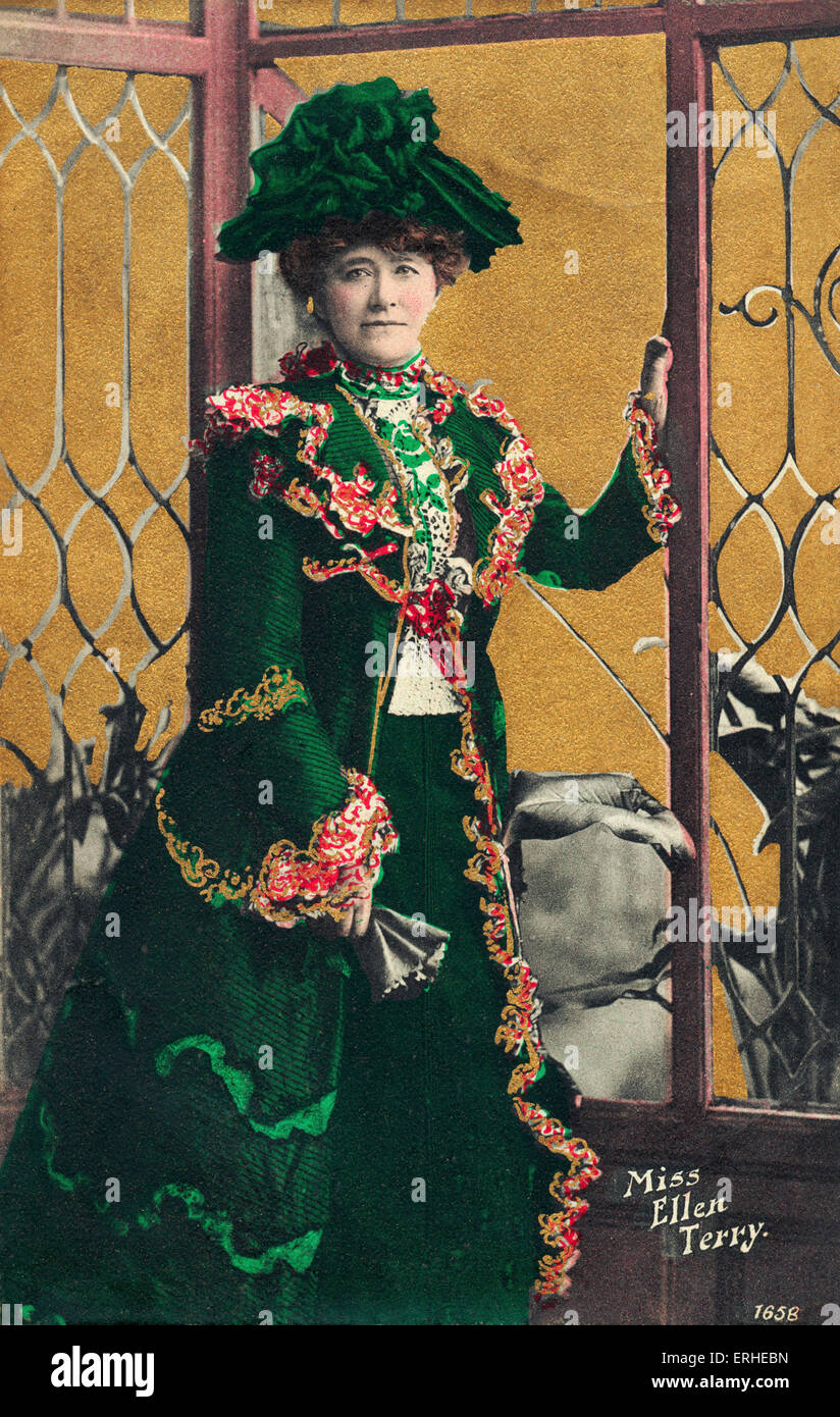 Ellen Terry - leading English Shakespearean actress and theatre manager. Born in Coventry. 1848-1928. Tinted postcard - Stock Image