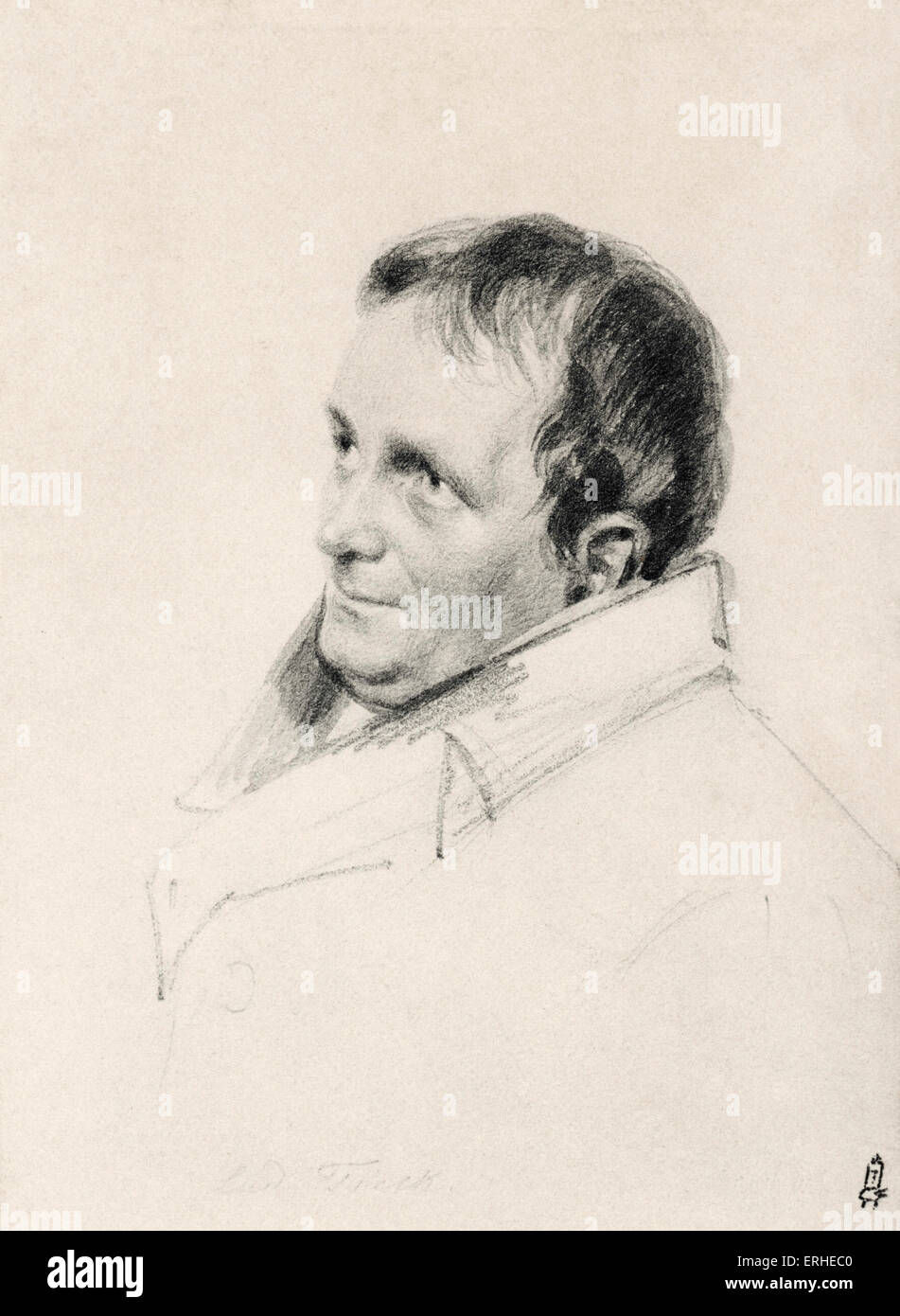 Ludwig Tieck -portrait. After original by Franz Kruger. German writer on Shakespeare. 31 st May 1773 - 28 april, - Stock Image