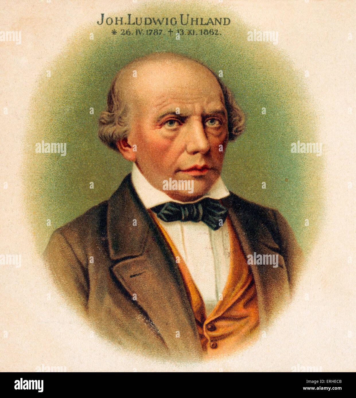 Johann Ludwig Uhland - German lyric poet and leader of the Swabian school 1787-1862 - Stock Image