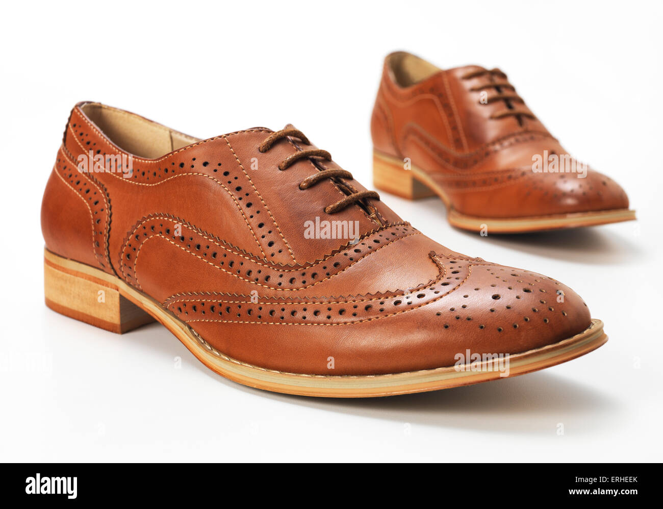 Brown Brogue isolated on a white background - Stock Image
