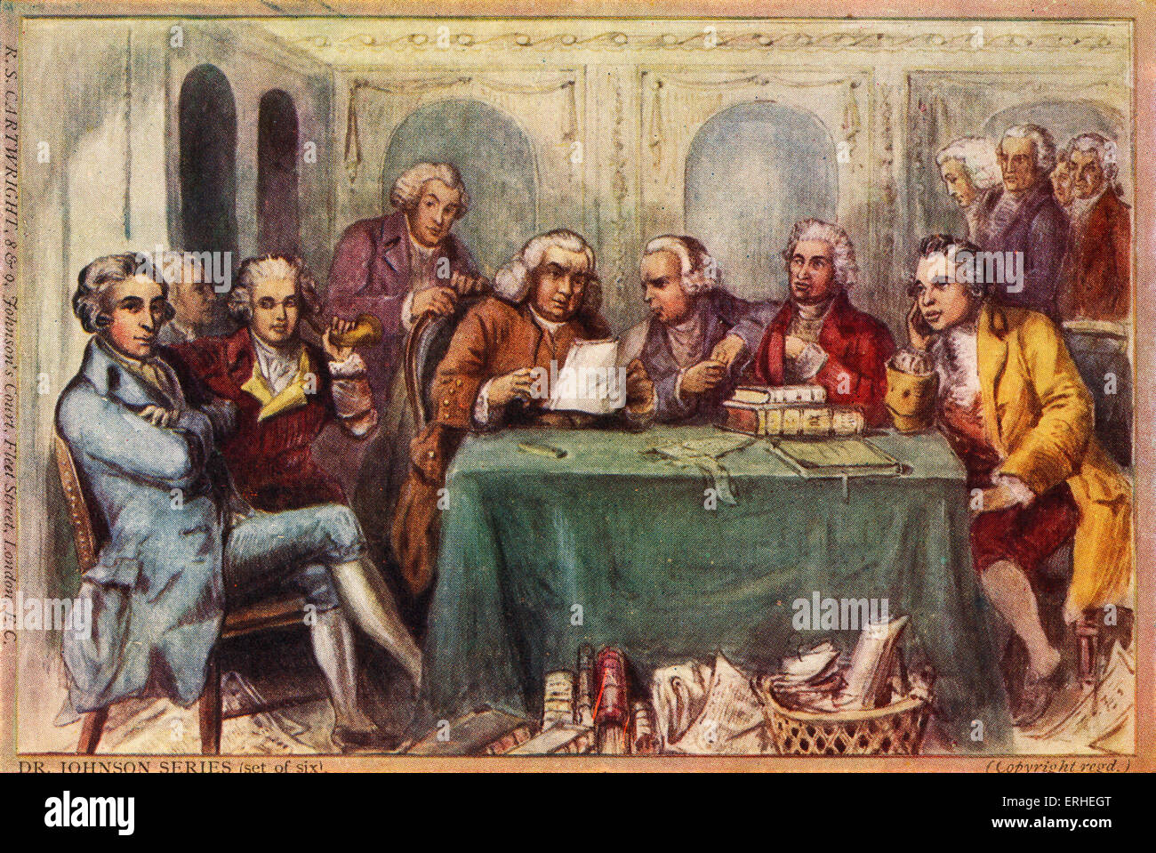 The Literary Club members in London -Johnson, Goldsmith, James Boswell, Sir Joshua Reynolds, Edmund Burke Used to Stock Photo