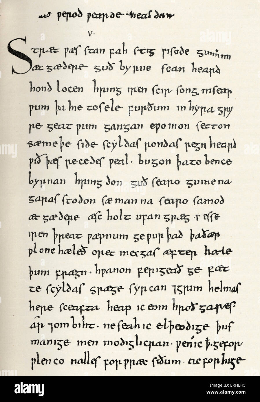 Beowulf - page from manuscript of Beowulf. c 1000 AD  - British Museum - Stock Image