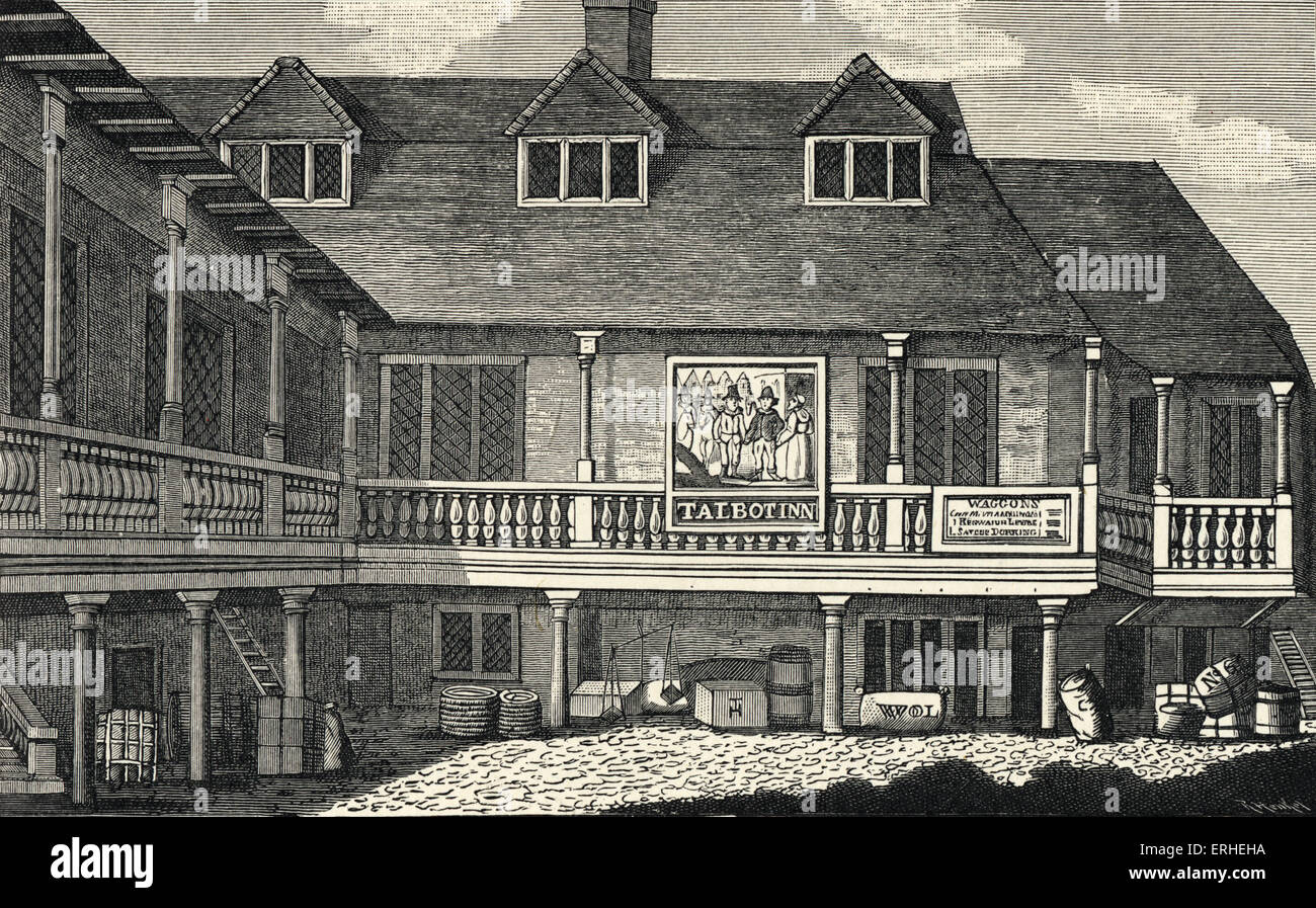 Tabard Inn - Southwark where Chaucer 's pilgrims stayed from Canterbury Tales - Stock Image