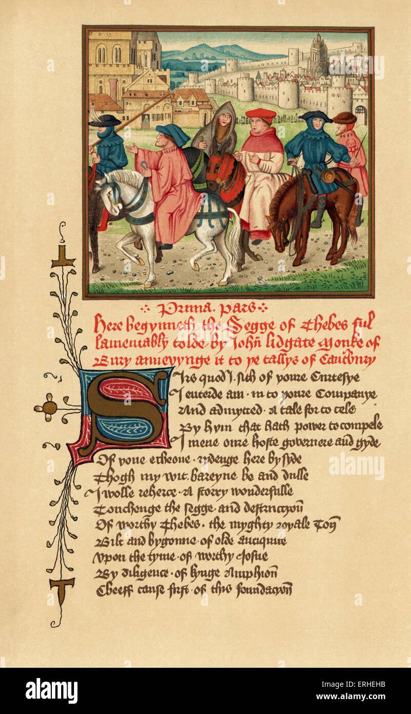 Canterbury pilgrims portrait - illuminated manuscript Geoffrey Chaucer - Stock Image