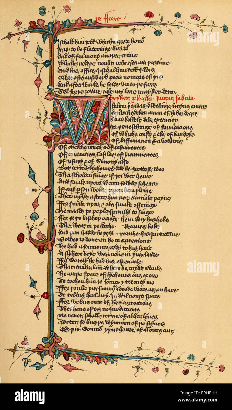 Geoffrey Chaucer 's Canterbury Tales - manuscript page Lansdowne manuscript -English writer 1342-1400 Stock Photo
