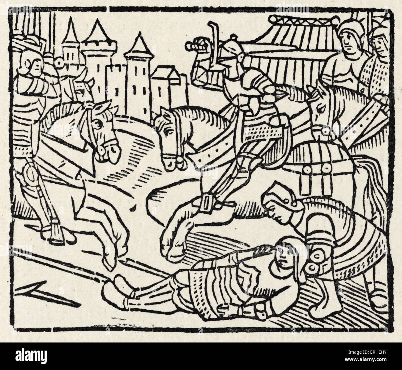 Lancelot at a Tournament - illustration from the ' French Romance of Lancelot du Lac ' 1513.  One of the - Stock Image