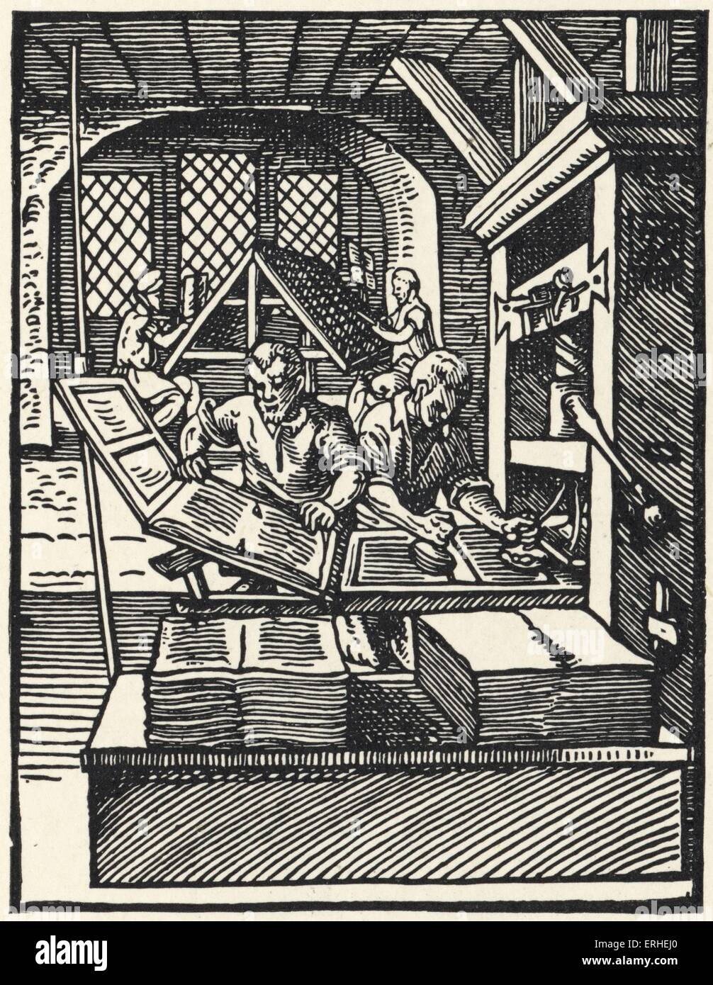 Printing in the 15th century - illustration from 'Stunde und Handwerker' by Jobst Amman. Early book. Craft. - Stock Image