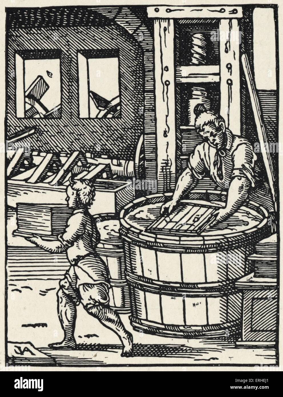 Paper making in the 15th century - illustration from 'Stunde und Handwerker' by Jobst Amman. Early book - Stock Image