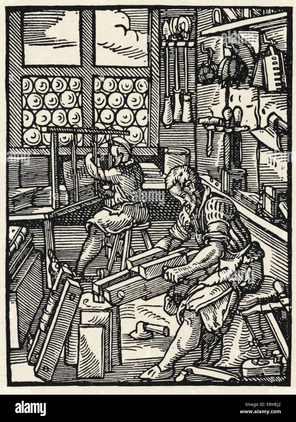 Bookbinding in the 15th century - illustration from 'Stunde und Handwerker' by Jobst Amman. Book production. - Stock Image
