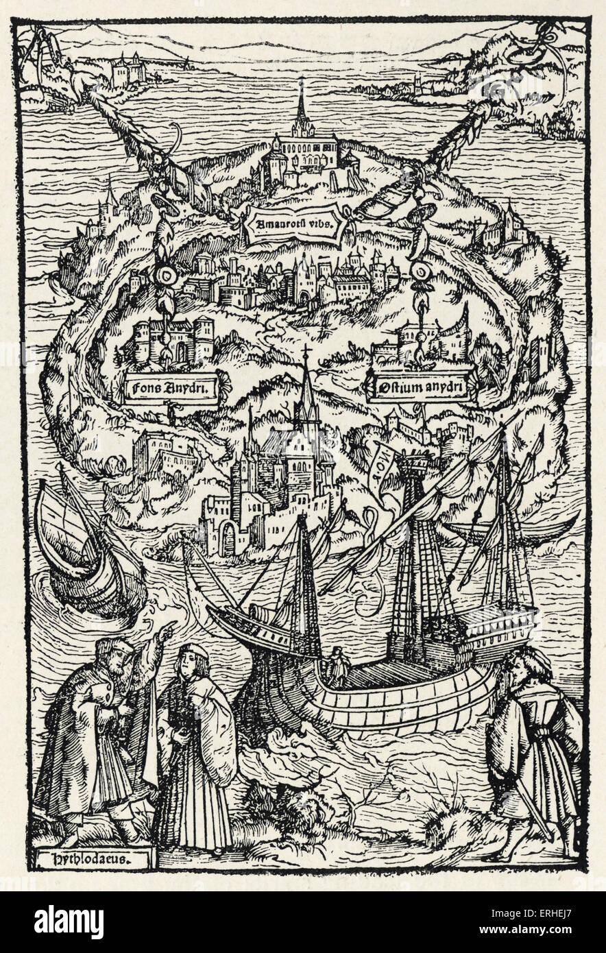 Utopia - written by Sir Thomas More - illustration - plan of Utopia 1518 - Stock Image