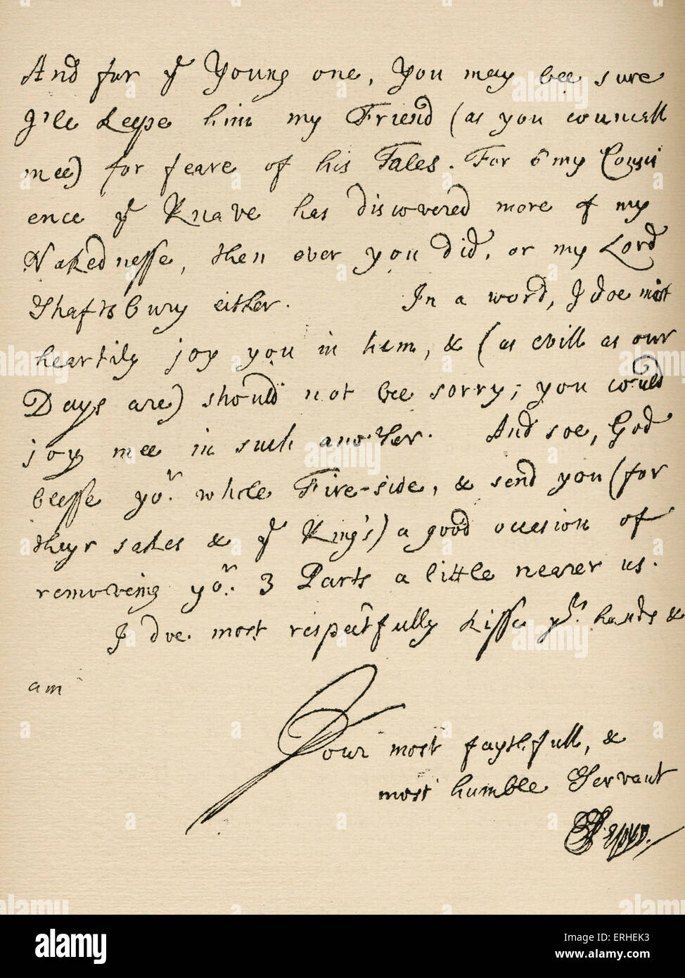 Signed manuscript letter by Samuel Pepys, October 19, 1695.  English writer and diarist. 1633 - 1703 - Stock Image