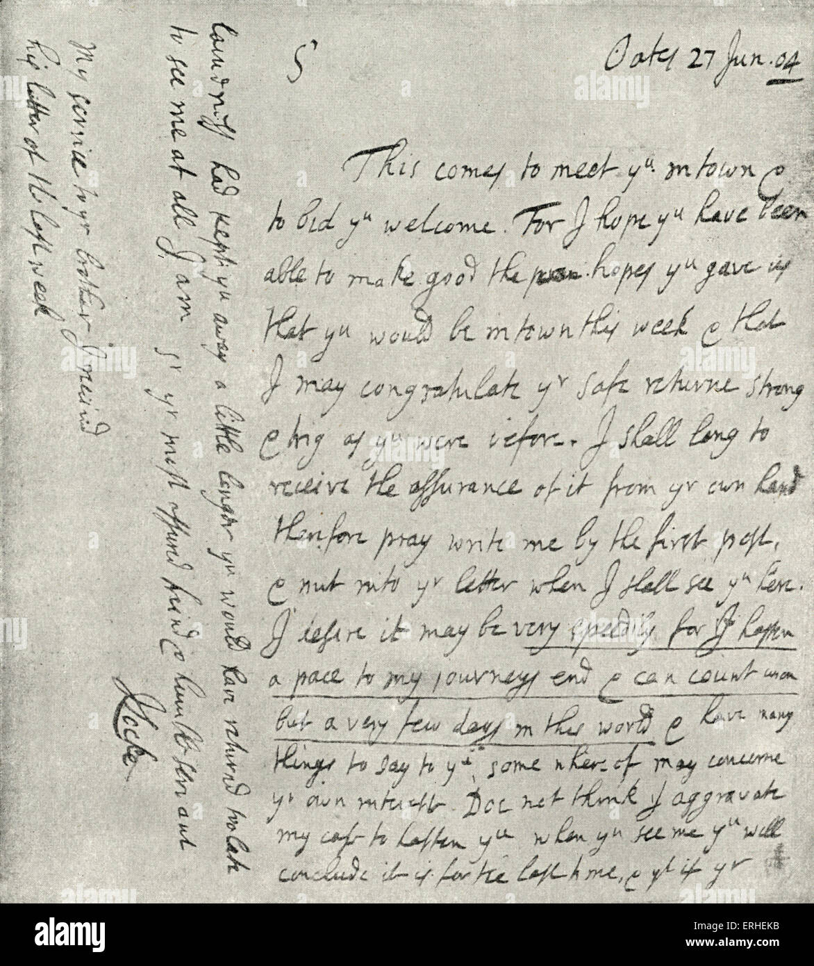 John Locke 's autograph letter dated 27 June 1704 from his home at Oates..   English philosopher 29 August 1632 - Stock Image