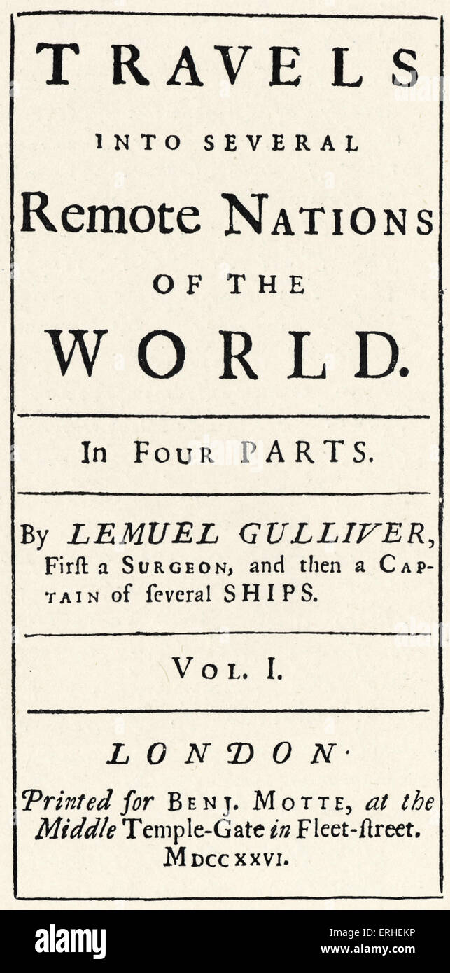 Jonathan Swift - 'Gulliver's Travels' - title page - first edition 1726 - Stock Image