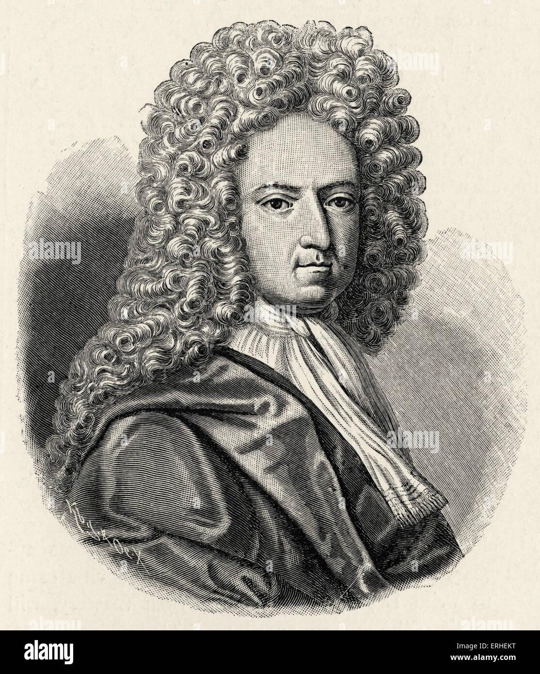 Daniel Defoe -  portrait. English author and journalist 1660-1731 - Stock Image