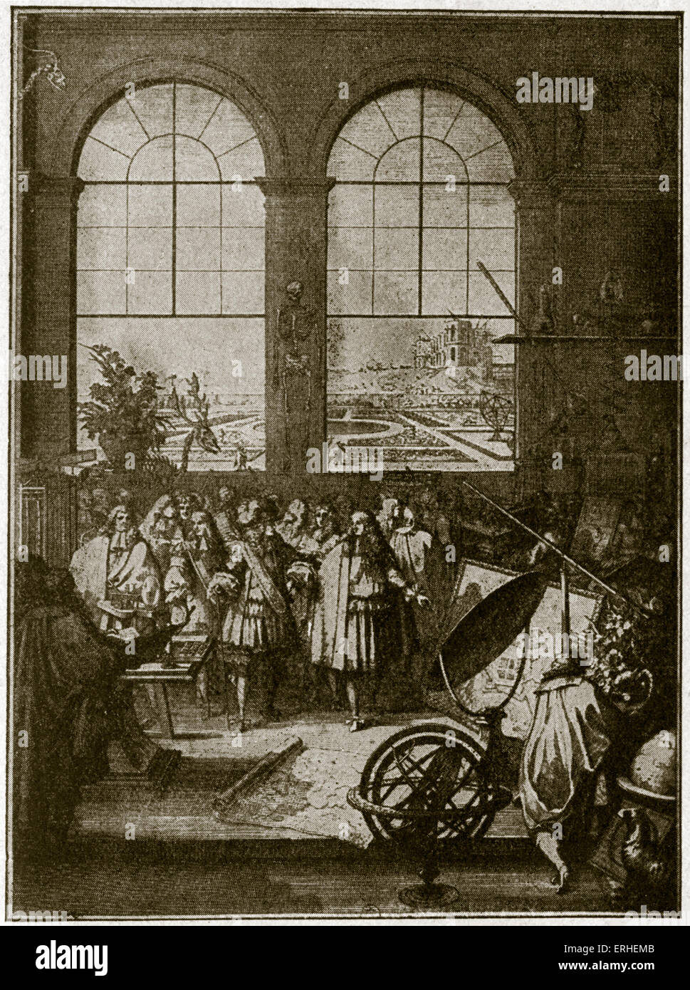 Inauguration of Louis XIV museum - woodcut - by Sebastian Le Clerc - possibly Louvre. Shows French scientists and - Stock Image