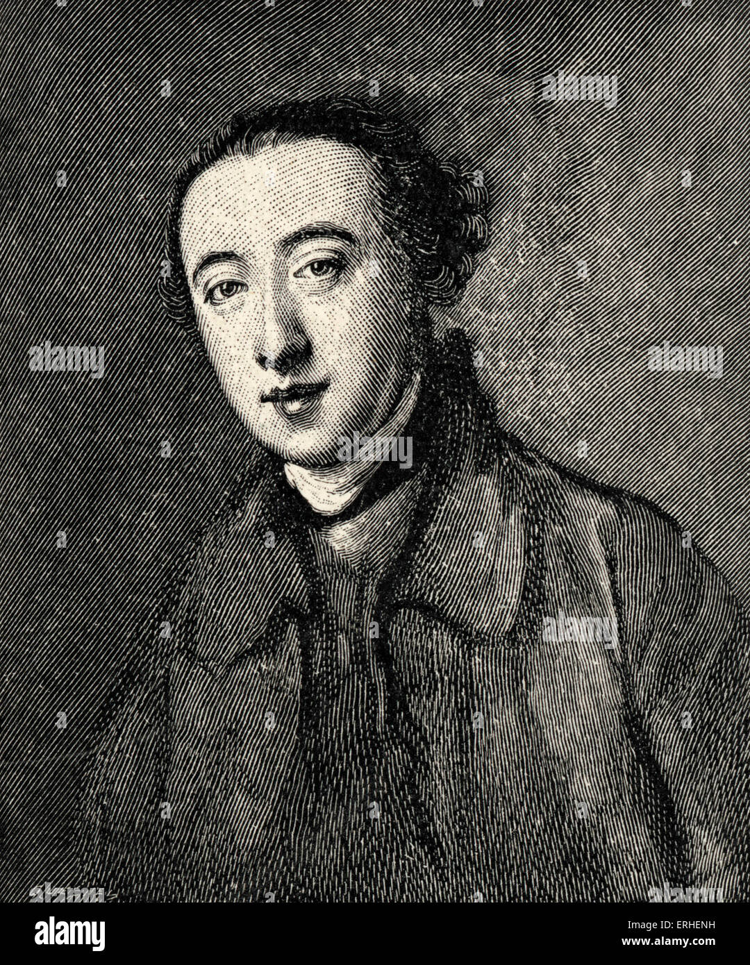 Horace Walpole - portrait.  English author and politician, - after portrait by Nathaniel Hone. 24 September 1717 - Stock Image