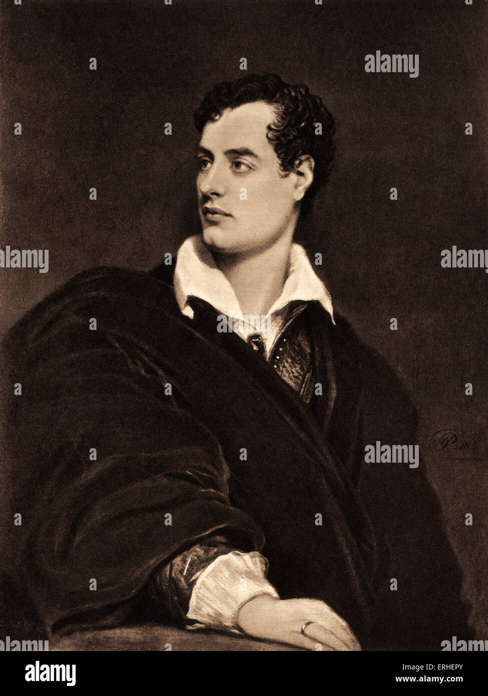 Lord Byron, portrait. British poet 1788-1824. After the portrait by T. Phillips . - Stock Image