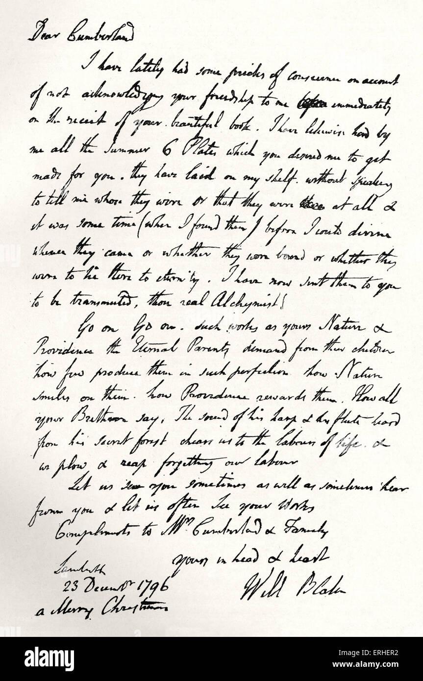 William Blake facsimile autograph letter to Richard Cumberland. British poet, painter and engraver 28 November 1757 - Stock Image