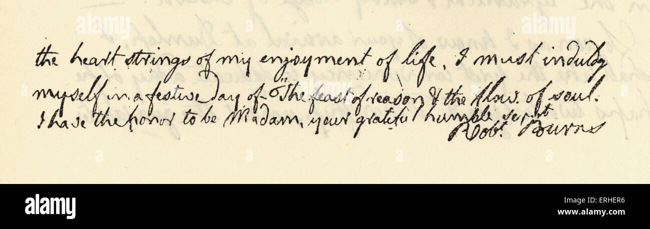 Robert Burns' autograph letter to Mrs Frances Anna Dunlop. National poet of Scotland.  1788 25 January 1759 - Stock Image