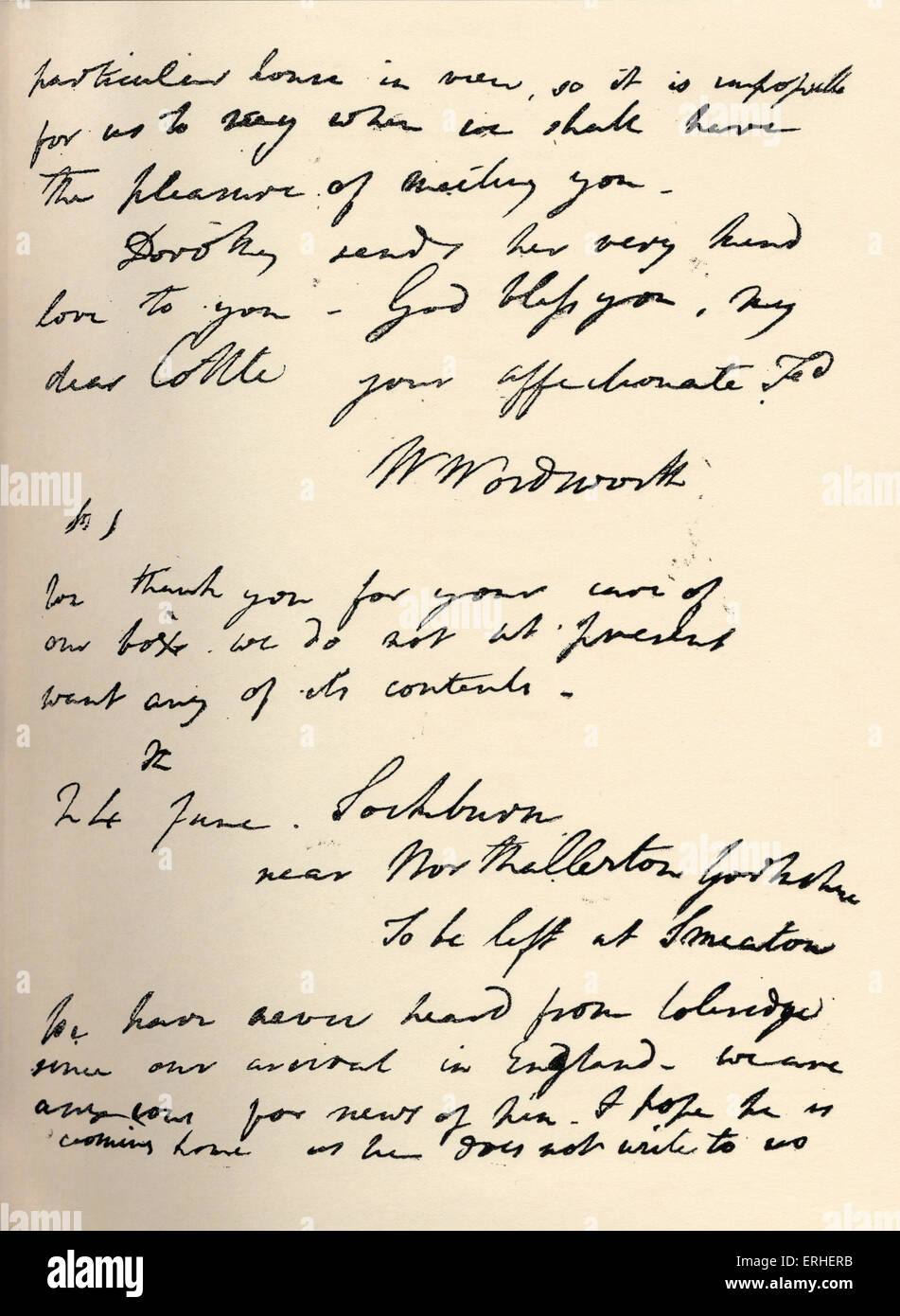 William Wordsworth autograph letter to Cottle. English poet 7 April 1770 - 13 April 1850. - Stock Image