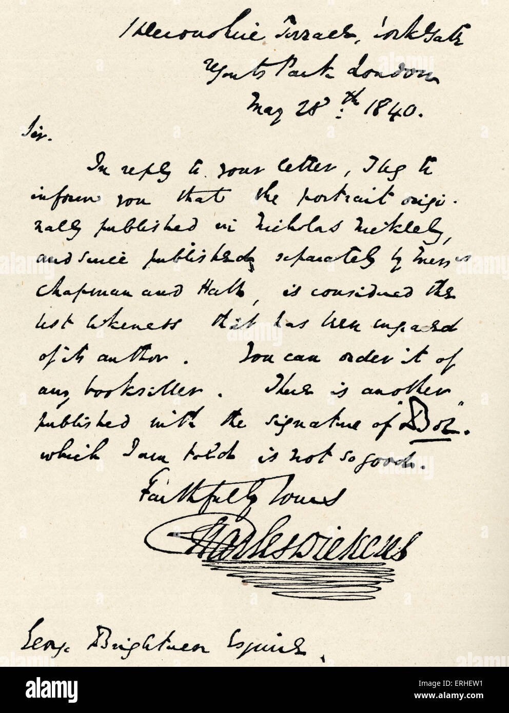 Charles Dickens - Signed handwritten letter from the English novelist to George Brightwen confirming authorship - Stock Image