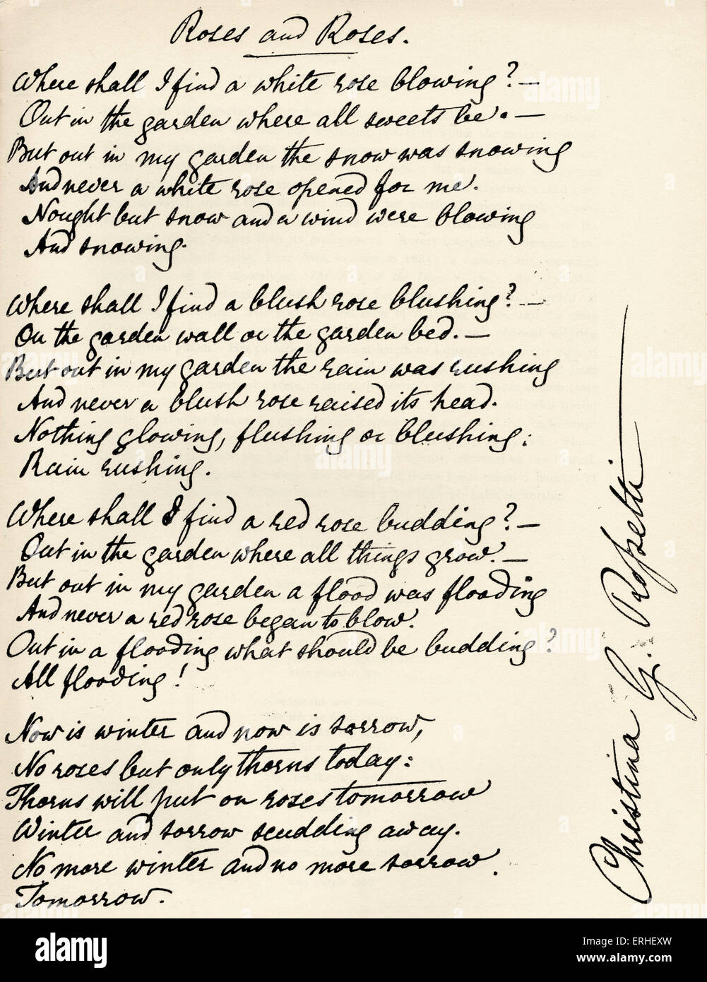 Christina Rossetti - Signed manuscript of poem ' Roses and Roses ' by the English poet 1830-94. - Stock Image