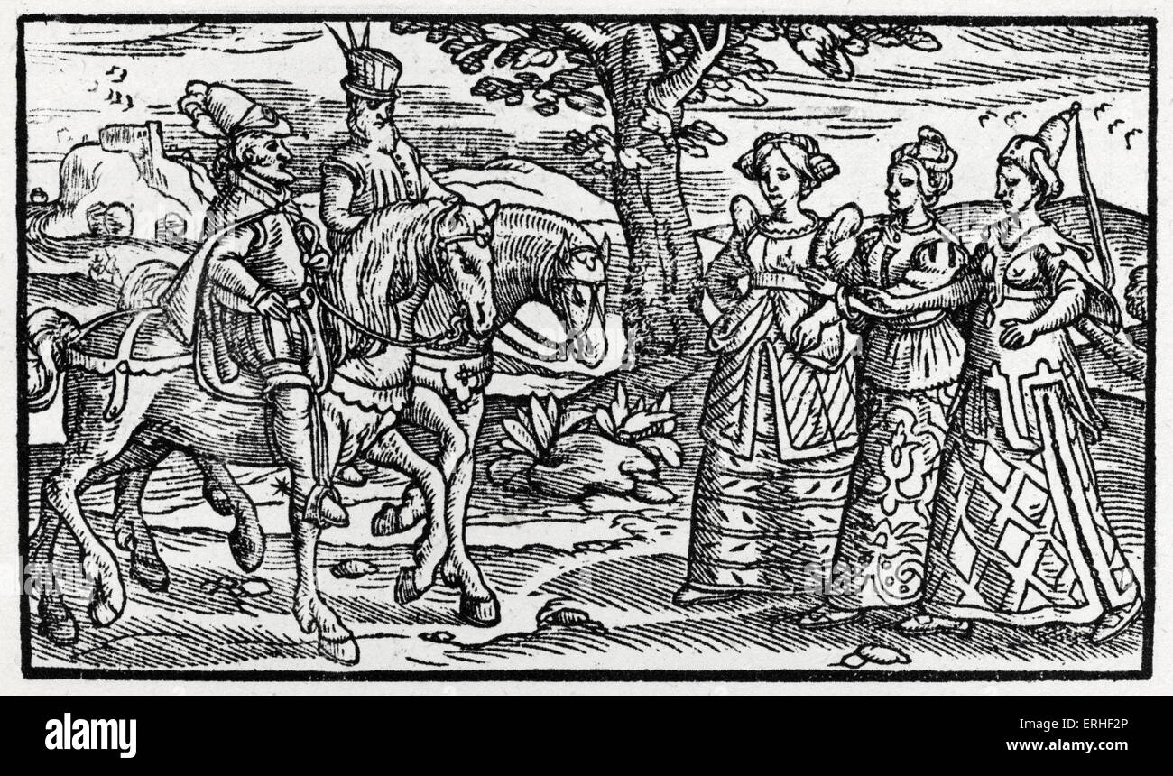 Macbeth and the Three Witches from ' Chronicles of England, Scotlande, and Irelande ' by Raphael Holinshed. - Stock Image