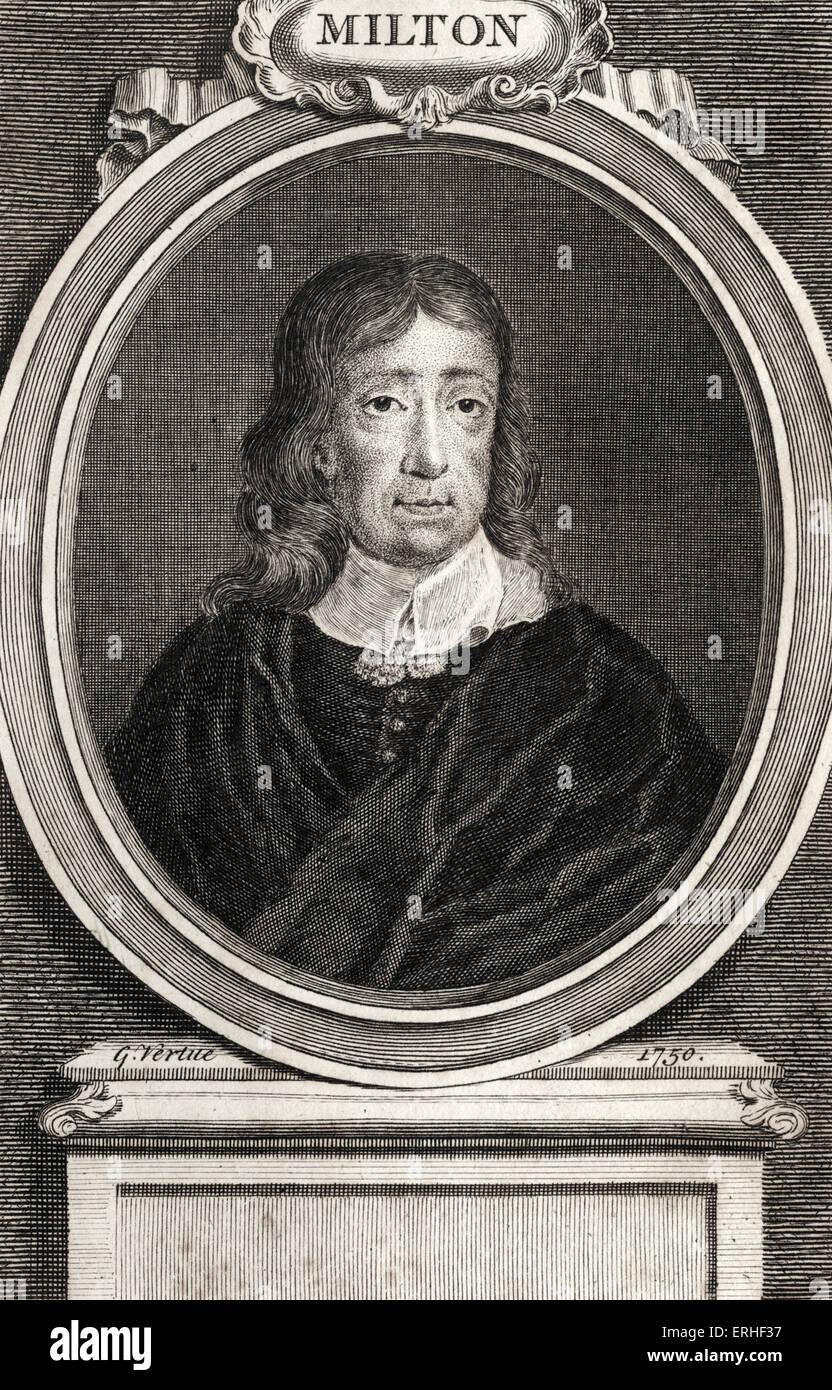 John Milton - portrait. English poet, 9 December 1608 - 8 November, 1674 - Stock Image