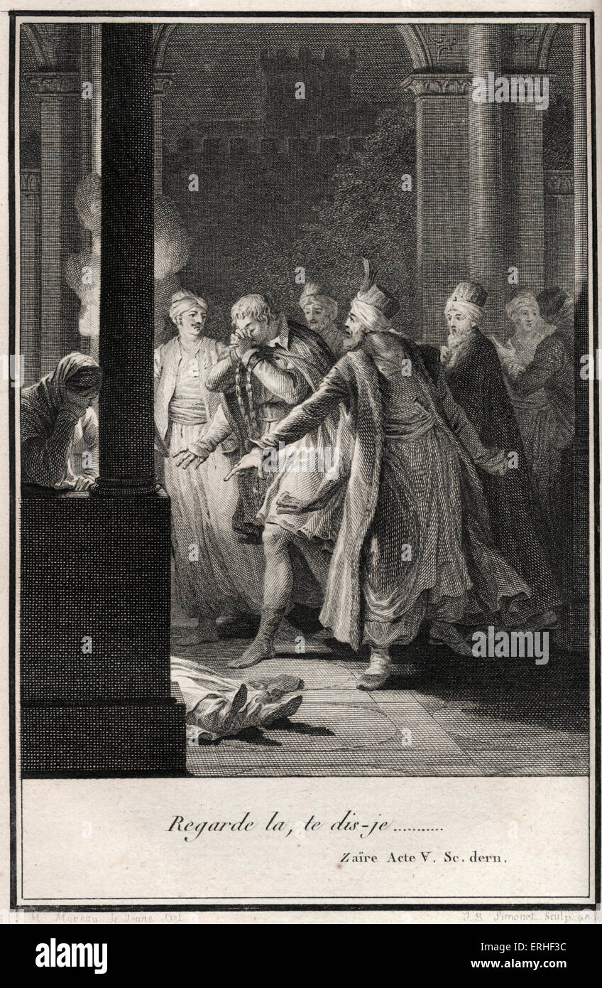 VOLTAIRE, François-Marie Arouet - Scene from ' Zaire ', Act 5, last scene. From 1785 complete edition - Stock Image
