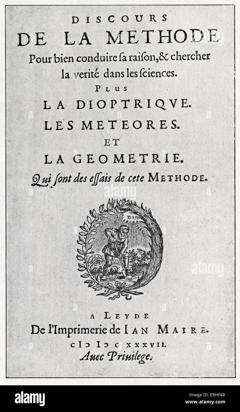 Rene Descartes - frontispiece of original edition of his 'Discours sur la Méthode', 1637. French philosopher and Stock Photo