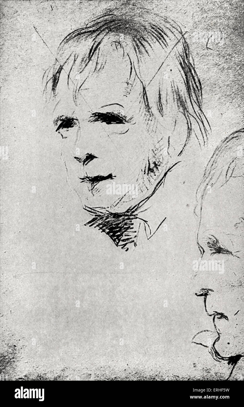 Sir Walter Scott - portrait sketch of the English novelist and poet 1771-1832.  From a sketch by Sir Edwin Landseer Stock Photo
