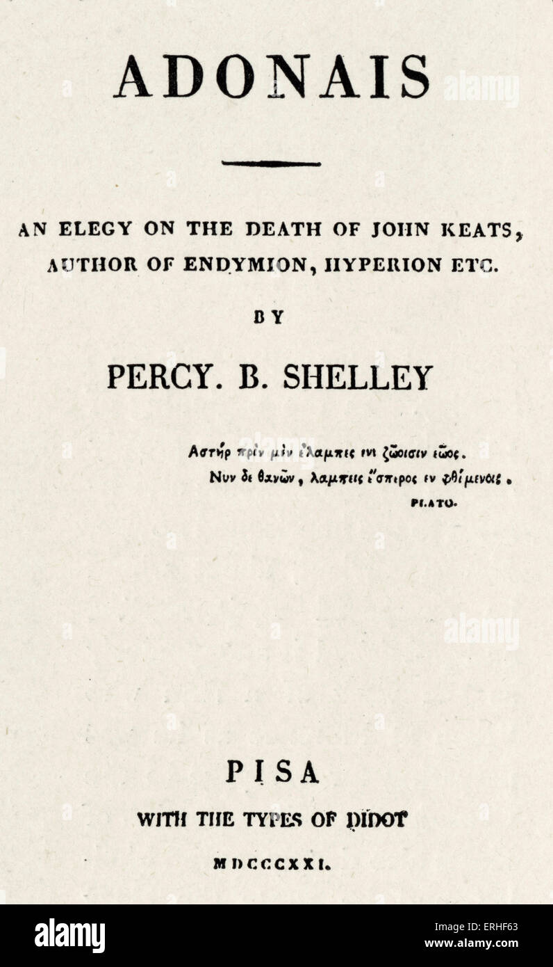 Percy Bysshe Shelley - Title page of ' Adonais ' 1821 by the English poet. 4 August 1792 - 8 July 1822.  Byron connection. Stock Photo