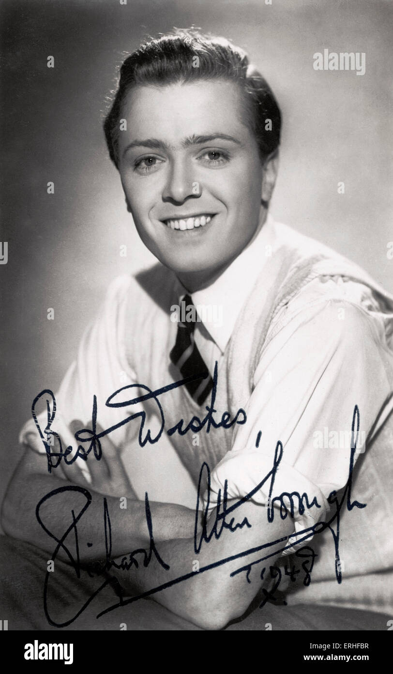 Richard Attenborough - signed portrait, 1948. English actor and director b. 29 August 1923 - publicity still - Stock Image