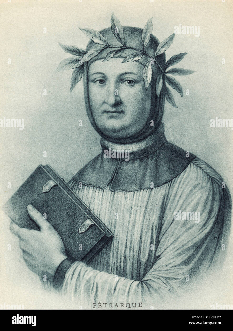 Francesco Petrarch portrait   14th century  Italian Poet. His poems have been set to music by Schubert, Monteverdi - Stock Image