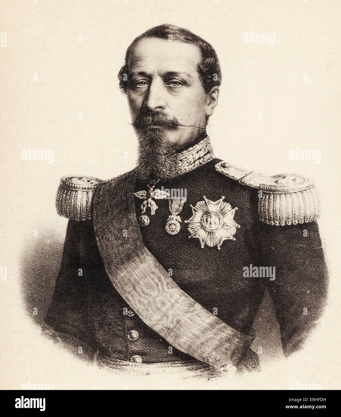 Napoleon III - portrait in uniform. 20 April 1808 - 9 January 1873.  Attempted coup against French King Louis Philippe. - Stock Image