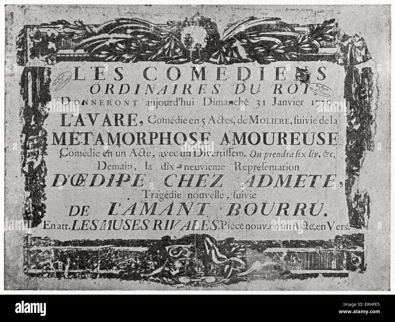 Original poster for theatrical productions of Molière's plays on 31 January 1779, Paris, France. Comedies - Stock Image