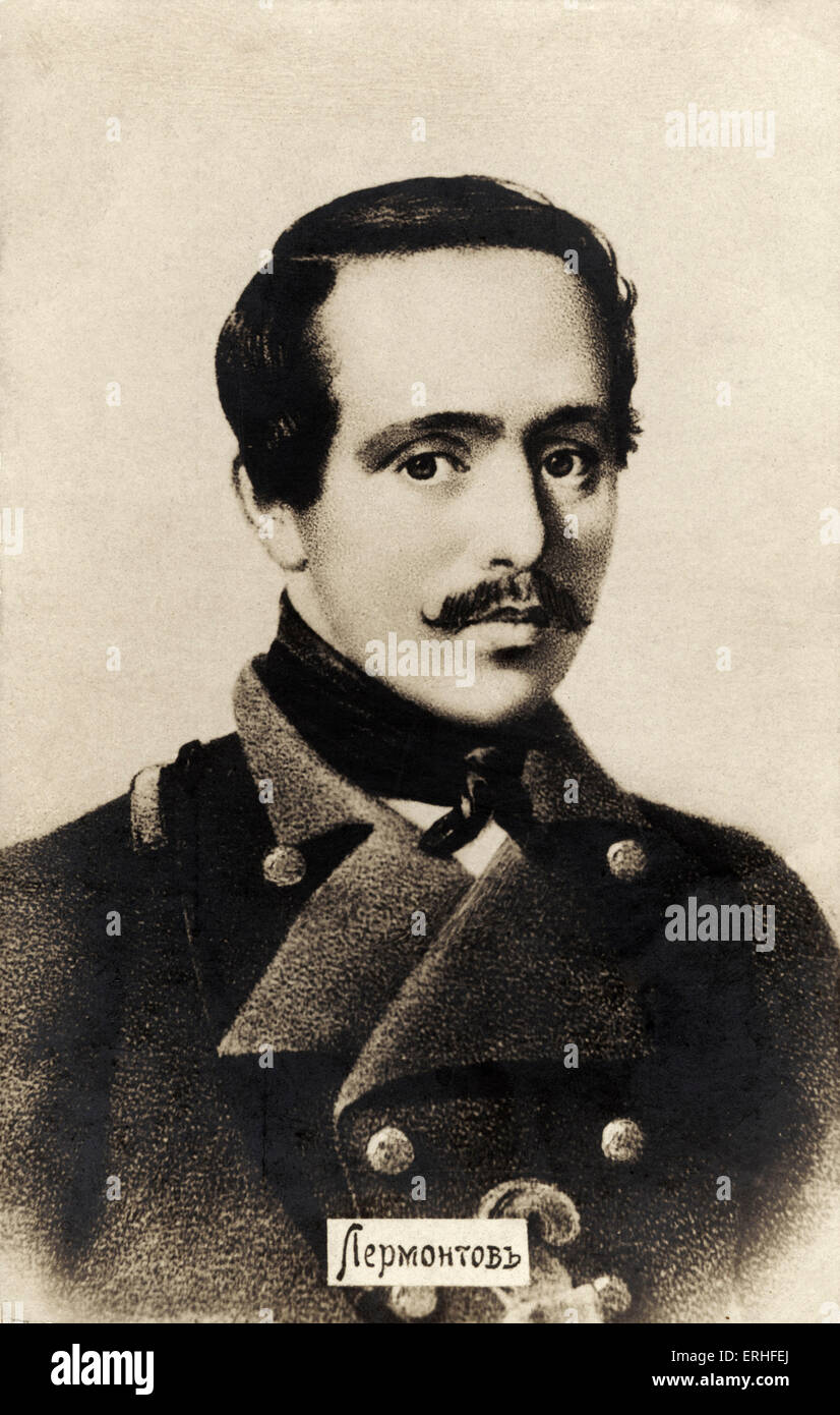 Mikhail Lermontov - portrait - Russian poet and novelist 15 October 1814 - 27 July 1841 - Stock Image