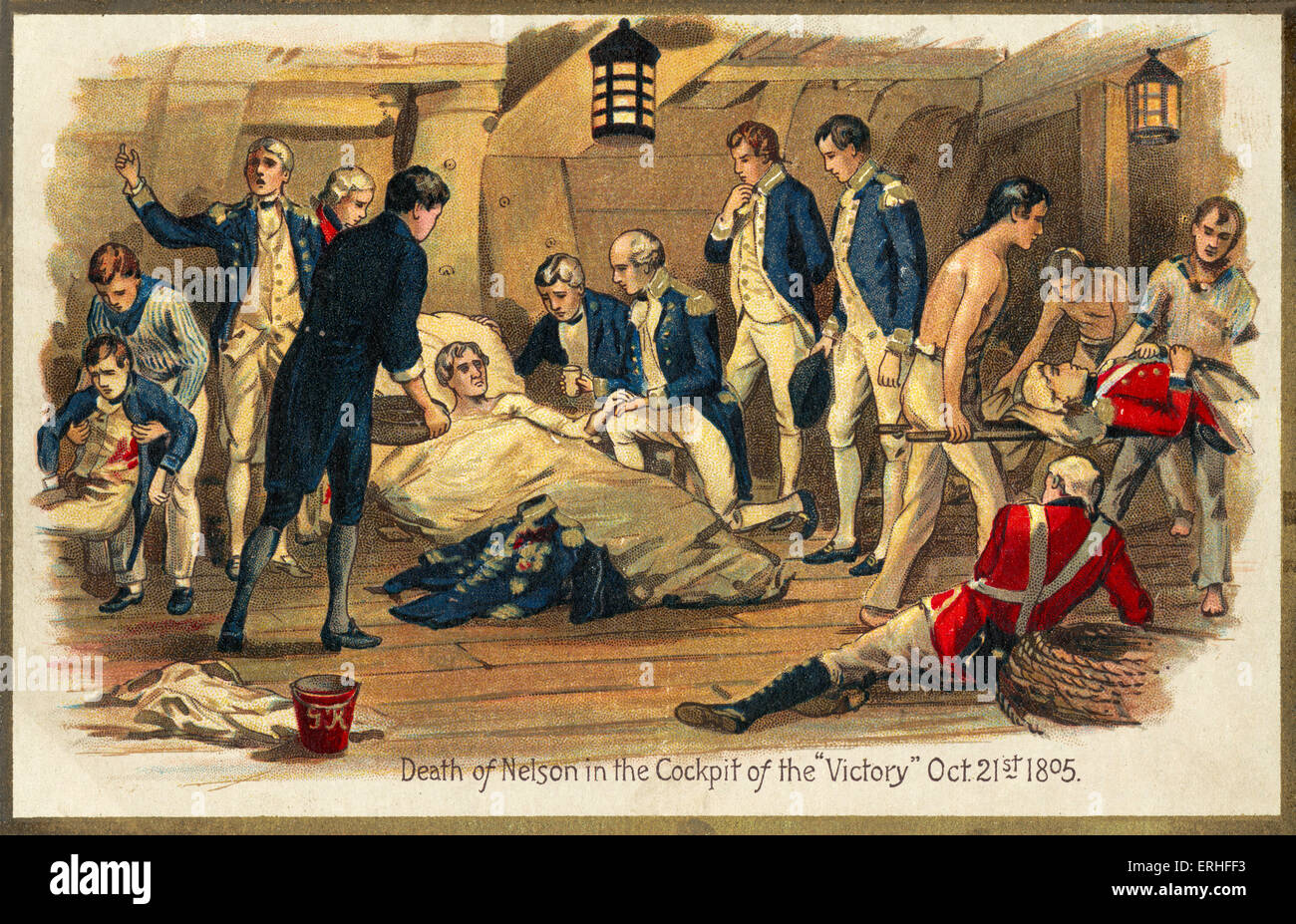 Admiral Horatio Nelson - postcard depicting 'Death of Nelson in the Cockpit of 'Victory'' - 21 October - Stock Image