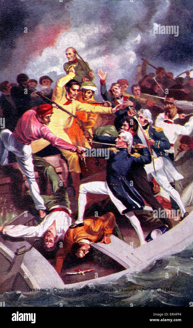 Admiral Horatio Nelson - postcard depicting his 'conflict with a Spanish launch' - 3 July 1797 - British - Stock Image