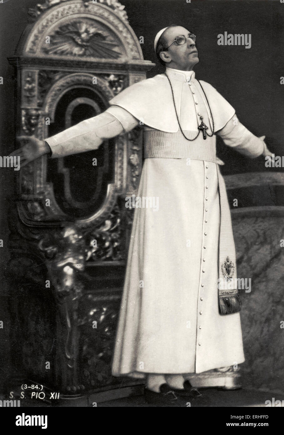 Pope Pius XII - portrait. Pope from 2 March 1939 to 1958 - 2 March 1876 - 9 October 1958. Stock Photo
