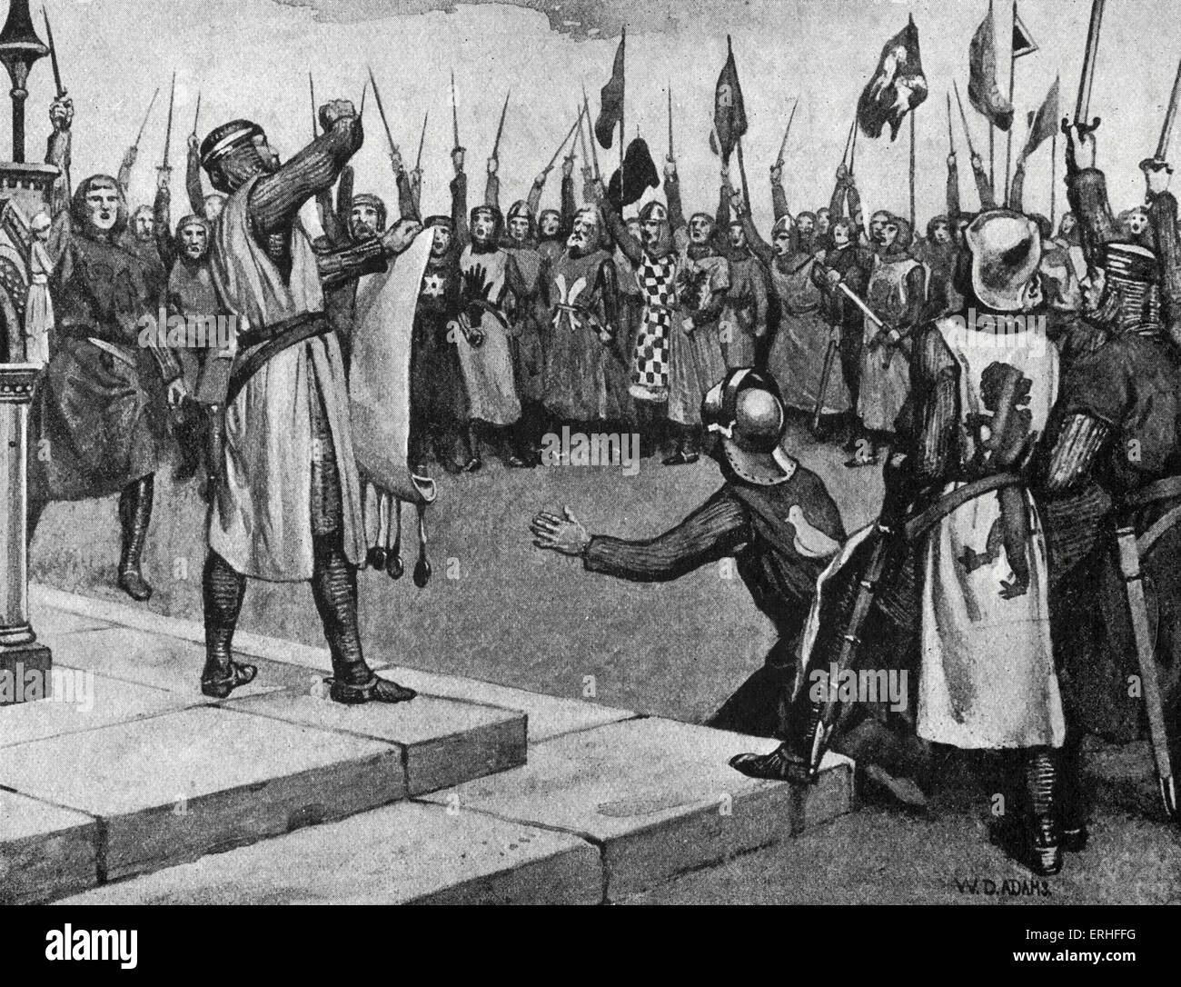 Magna Carta - illustration depicting 'the barons taking the oath at the giving of the Magna Charta' - 1215 - Stock Image