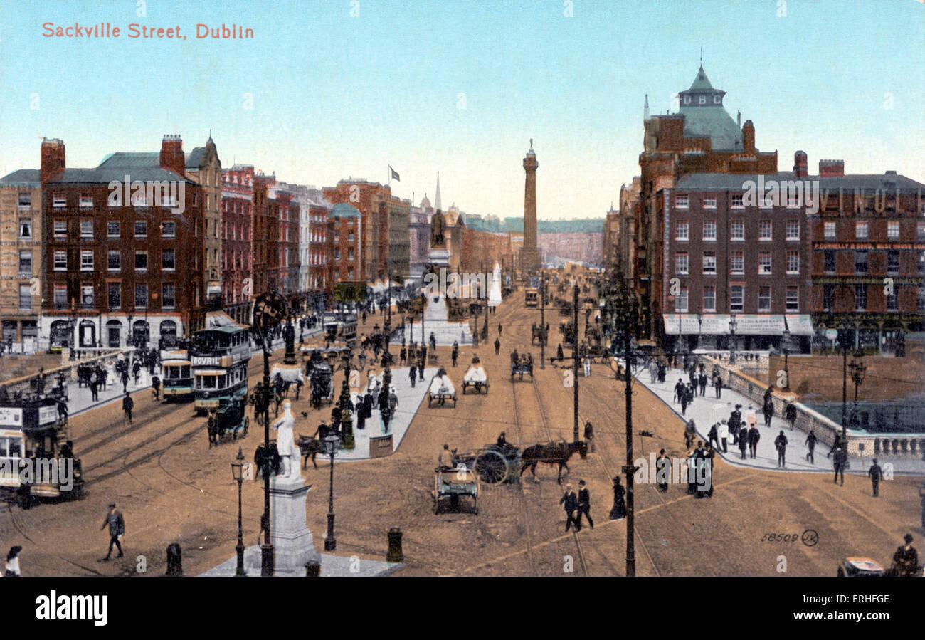 DUBLIN IRELAND SACKVILLE STREET ARCHITECTURE 1878 HISTORY HORSES CARRIAGES