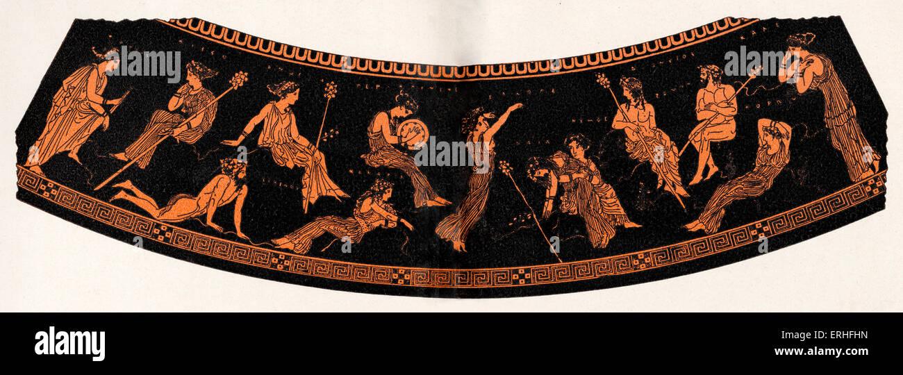 Ancient Greek illustration of the apotheosis of poetry of Dionysus, God of wine - Represents a ball given for Dionysus - Stock Image